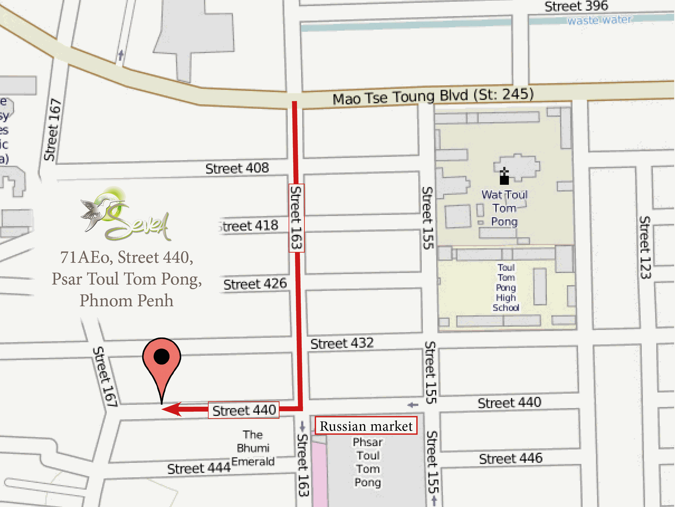 Map to localize Sevea office in Phnom Penh