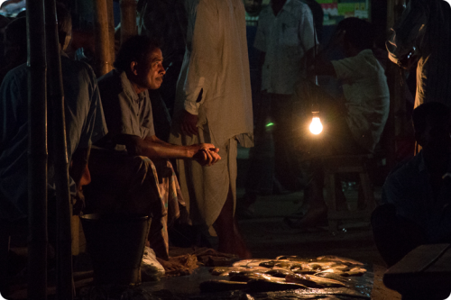 Man selling fish in Cambodia during the night, using solar energy